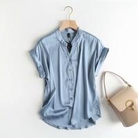 Silk Satin Simulated Short Sleeve Shirt Summer Women's Pure Colored Bottom Shirt Top