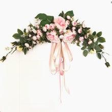 6 Types Simulation Artificial 60cm  European Door Mirrorlintel Decorative Flower Wedding  Home Decoration Wreath with Ribbon