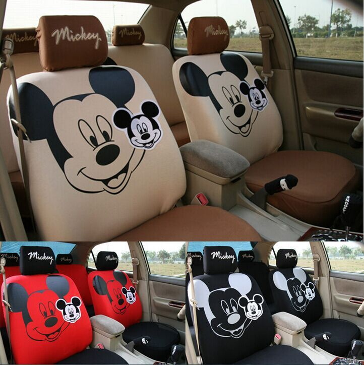 3 colours typ black red brown cotton mickey minnie mouse car seat covers accessories for car 5. Black Bedroom Furniture Sets. Home Design Ideas