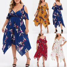 Plus Size Short Sleeves Summer Boho Beach Dress Cold Shoulder Handkerchief Dress Floral Print Women Dress Vestidos Femme(China)