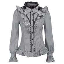 Женская рубашка на весну и осень, Ретро стиль, Ренессанс, в тонкую полоску, с длинным рукавом, воротник-стойка, бант, гофрированная рубашка, Готическая блузка, топы