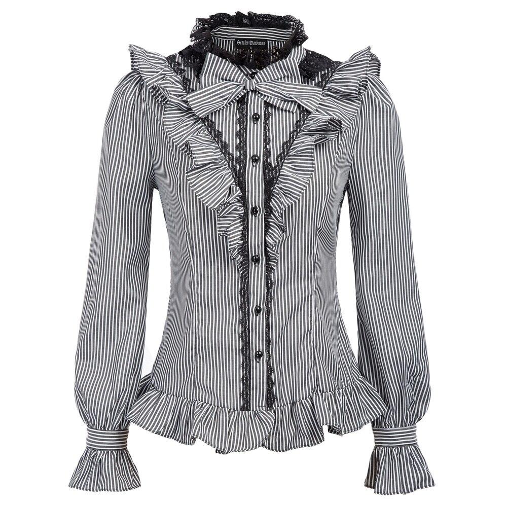 Spring Fall Women Shirt Vintage Retro Renaissance Pinstripe Long Sleeve Stand Collar Bow Knot Ruffled Shirt Gothic Blouse Tops
