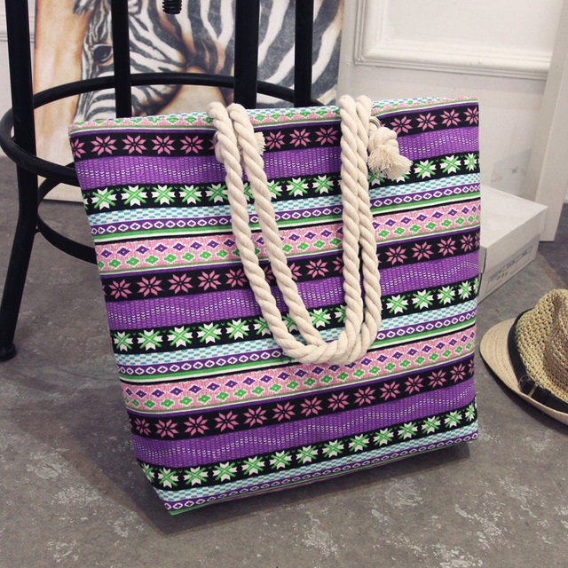 Summer Women Canvas bohemian style striped Shoulder Bag 5