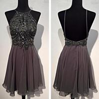 Gray 2018 Homecoming Dresses A line Halter Short Mini Chiffon Beaded Crysals Elegant Backless Cocktail Dresses