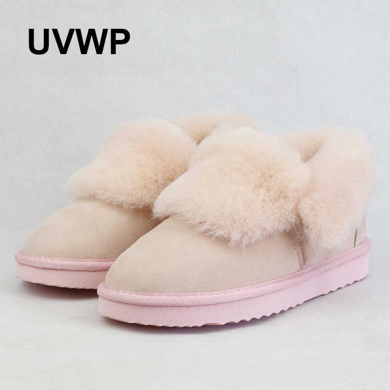 Yeni Yüksek Kaliteli Kadın Kar Botları 100% Gerçek Kürk Kış Botları Doğal Yün Sıcak yarım çizmeler Hakiki Koyun Derisi Deri Kadın Ayakkabı
