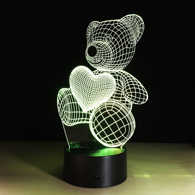 Luminous 3D Love Heart Bear Changing Color LED Lamp
