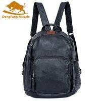 Men Backpack Cowhide Genuine Leather Casual Daypack Unisex joke Headset Jack Backpack Woman Real Leather School Bag Travel Bag