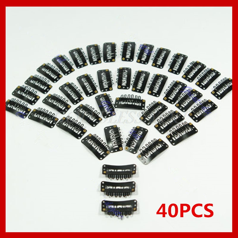 40Pcs/Lot U Shape Black Snap Clip For Hair Extension Wig Weft 32mm Ponytail Holder