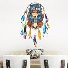 Decorative-Stickers Wall-Decals Dream Catcher Skull Bedroom Living-Room Mural-Art Portrait