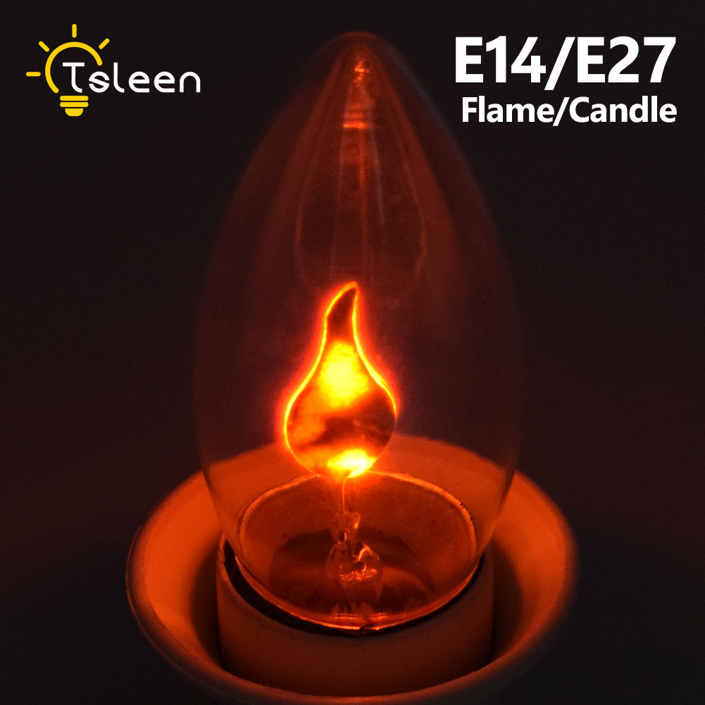 <font><b>E14</b></font> E27 Retro <font><b>LED</b></font> Edison Light Bulb <font><b>LED</b></font> Flame Effect Fire Light Flickering Flame <font><b>Lamp</b></font> Simulated Party Christmas Decor AC220-240V image