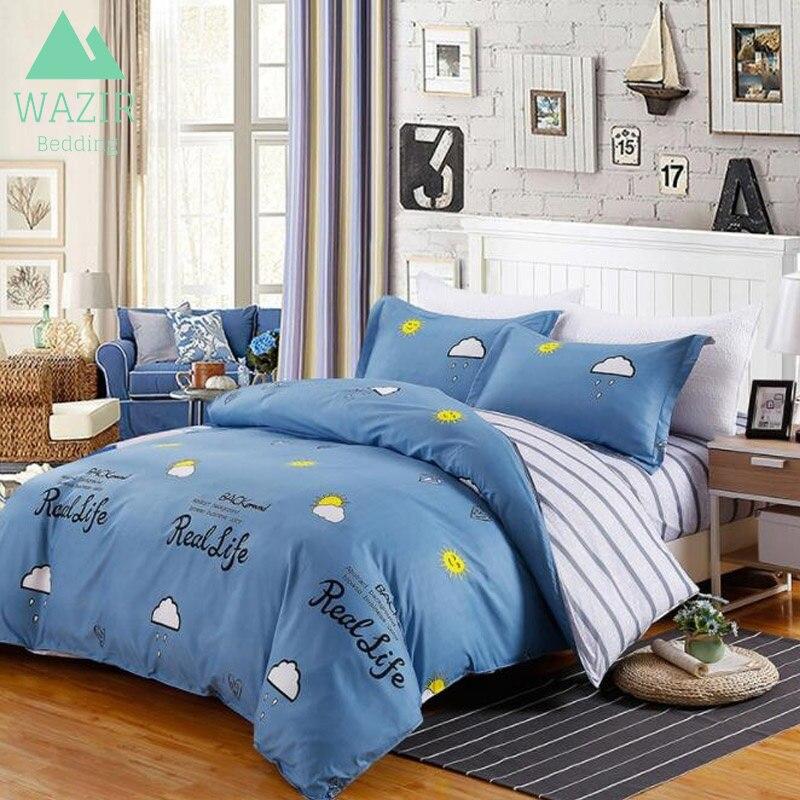 WAZIR Soft & Comfortable Cartoon Printed Bedding Set 4Pcs Quilt Duvet Cover + Bedspread + PillowCase Set