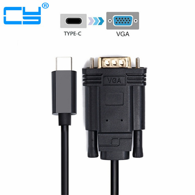 USB-C Type C USB 3.1 to VGA Male 1080p HDTV Monitor Cable for Macbook & Chrombook & XPS13 Laptop usb3 1 usb type c to displayport dp 4k cable adapter 1 8m black for new macbook hdtv projector monitor display 2017 hot product
