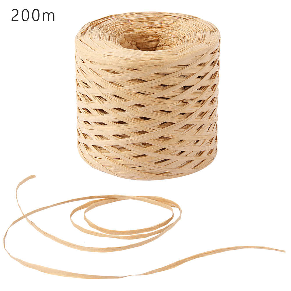 Raffia Paper Ribbon 200 Meters Craft Natural Wrapping Paper Twine Rope Gift Packing ribbon for Easter Party wedding Decoration