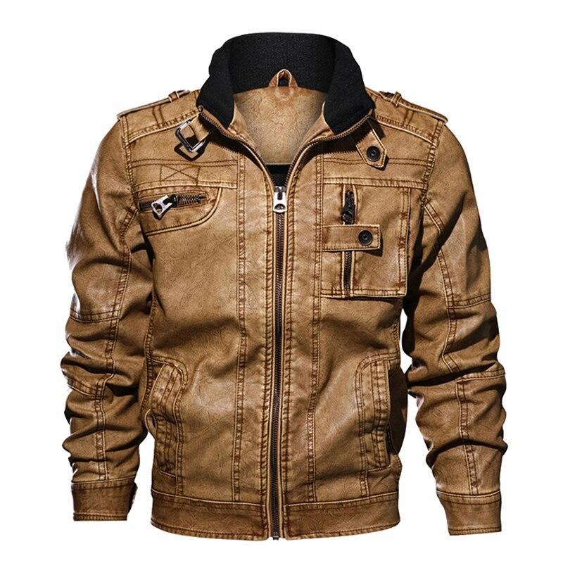 PU Jacket Leather Men Coat Autumn Slim Fit Faux Leather Motorcycle Jackets Male Coats Leather Jacket Coat Men Big Size 6XL 7XL
