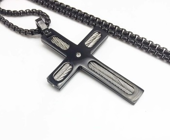 "Black Cross Pendant with Silver Wire Inlay and Small Gem 24"" Stainless Steel Necklace"