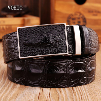 VOHIO New Crocodile lines men belt fashion leather upscale male automatic belt buckle contracted business and leisure travelers fashionable crocodile and letter z shape inlay design auto buckle belt for men