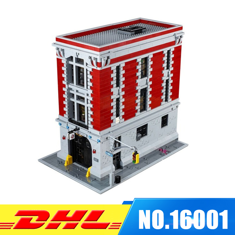 Fit For 75827 DHL LEPIN 16001 4695Pcs Ghostbusters Firehouse Headquarters Model Building Kits Model set lepin 16001 4705pcs city street series ghostbusters firehouse headquarters building block bricks kids toys for gift 75827