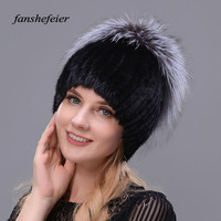 Fanshefeier Winter women's fur Beanies Warm Beanies Real Mink Fur Women Winter Hats Rose shape Rex Rabbit Fur Hat Female Fashion