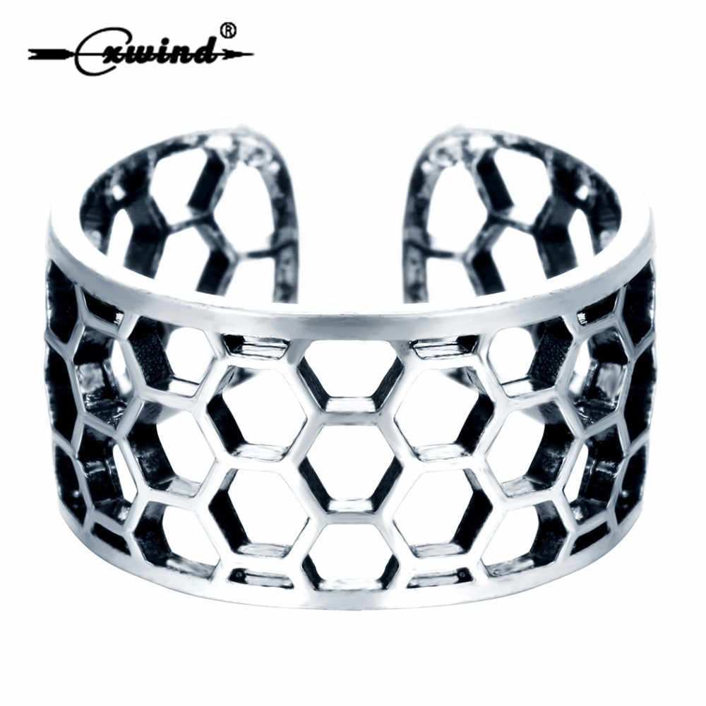 Cxwind Geometric Hexagen Ring Jewelry For Women Vintage Wide Rings Honeycomb Shaped Adjustable Ring Friends Gift Accessories