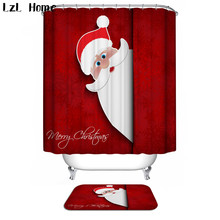 LzL Home Santa Claus Pattern Bathroom Accessories Suit Waterproof Moldproof Polyester Shower Curtains Non Slip