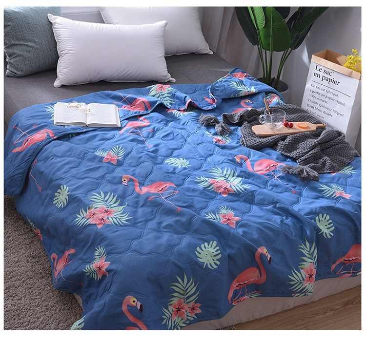 2019 nueva ropa de cama edredón de dibujos animados colcha de verano colcha de flamenco mantas Textiles para el hogar apto para adultos niños
