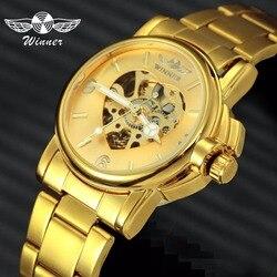 Vencedor oficial de luxo feminino relógios automático mecânico ouro coração esqueleto dial banda aço inoxidável elegante relógio das senhoras