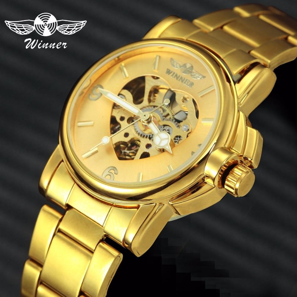 WINNER Luxe Dames Automatisch Mechanisch Gouden Horloge Uniek Hart - Dameshorloges