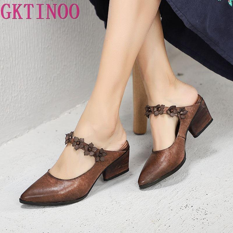 GKTINOO 2019 Spring Summer Slides Shoes New Retro Pointed Toe Women Slippers Flowers Medium Heels Genuine