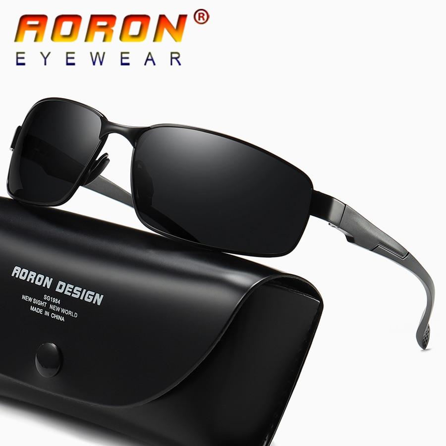 AORON Brand Men's Vintage Square Sunglasses Polarized UV400 Lens Eyewear Accessories Mens Vintage Sun Glasses For Men A511