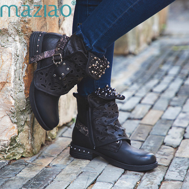 Women Rhinestone Winter Boots Zipper Rivet Buckle Lace-up Ankle Western  Boots Cowboy Round Toe f3919636247f