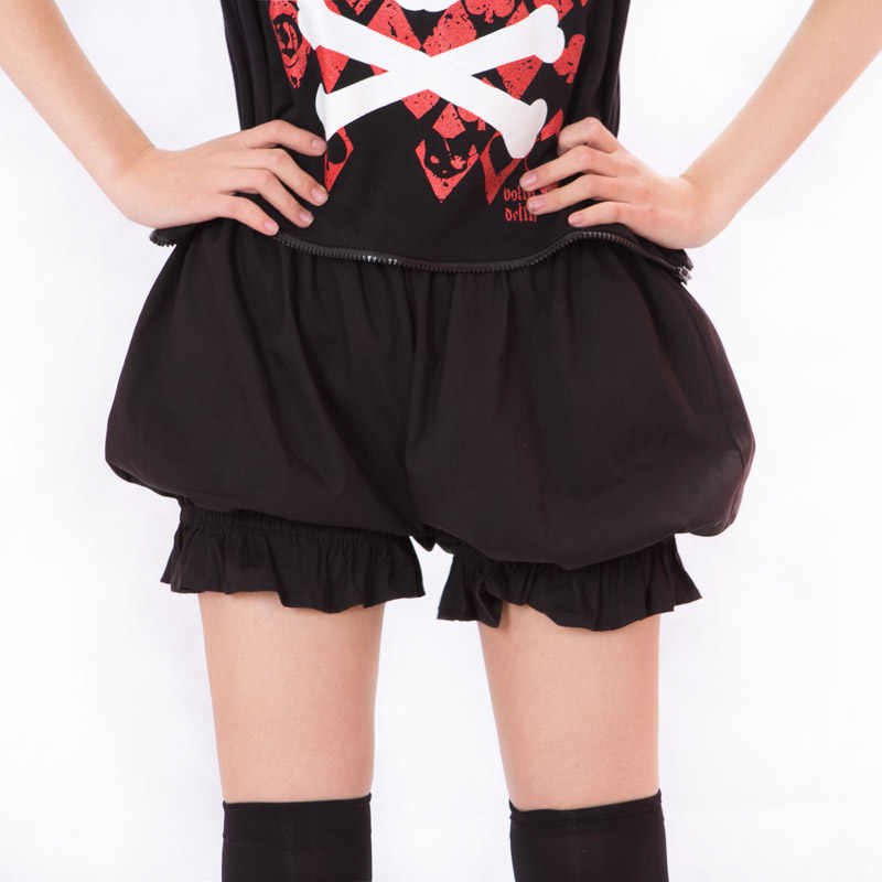 Kawaii Cosplay Shorts Lolita Bloomers Pantalooms per Le Donne Bianco Nero di Cotone Shorts
