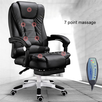 Home Office Computer Desk Boss Massage Chair With Footrest Armrest PU Leather Adjustable Reclining Gaming Chair