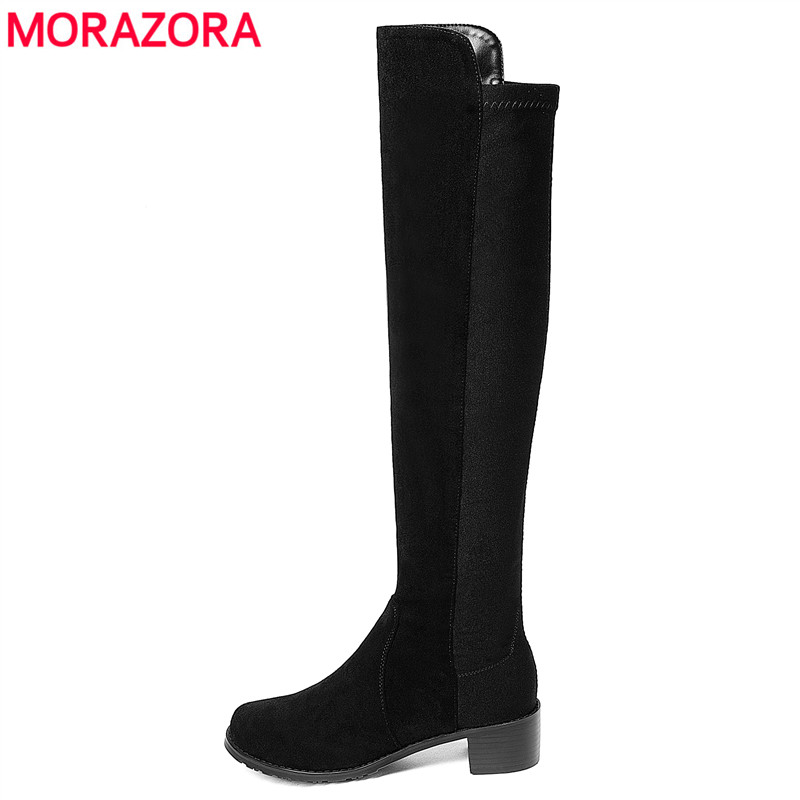 MORAZORA 2018 New high quality flock leather boots square heel women autumn winter boots black over knee thigh high boots shoes e toy word autumn winter boots women over knee thigh high boots women flats long boots low heel suede leather women shoes