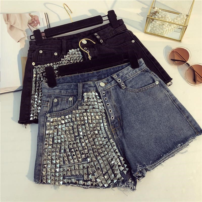 Tassel With Rivet Beading Denim Shorts Female High Waist Rivet Beading Hand-made Hole Punk Street Style Hot Shorts Wq1613