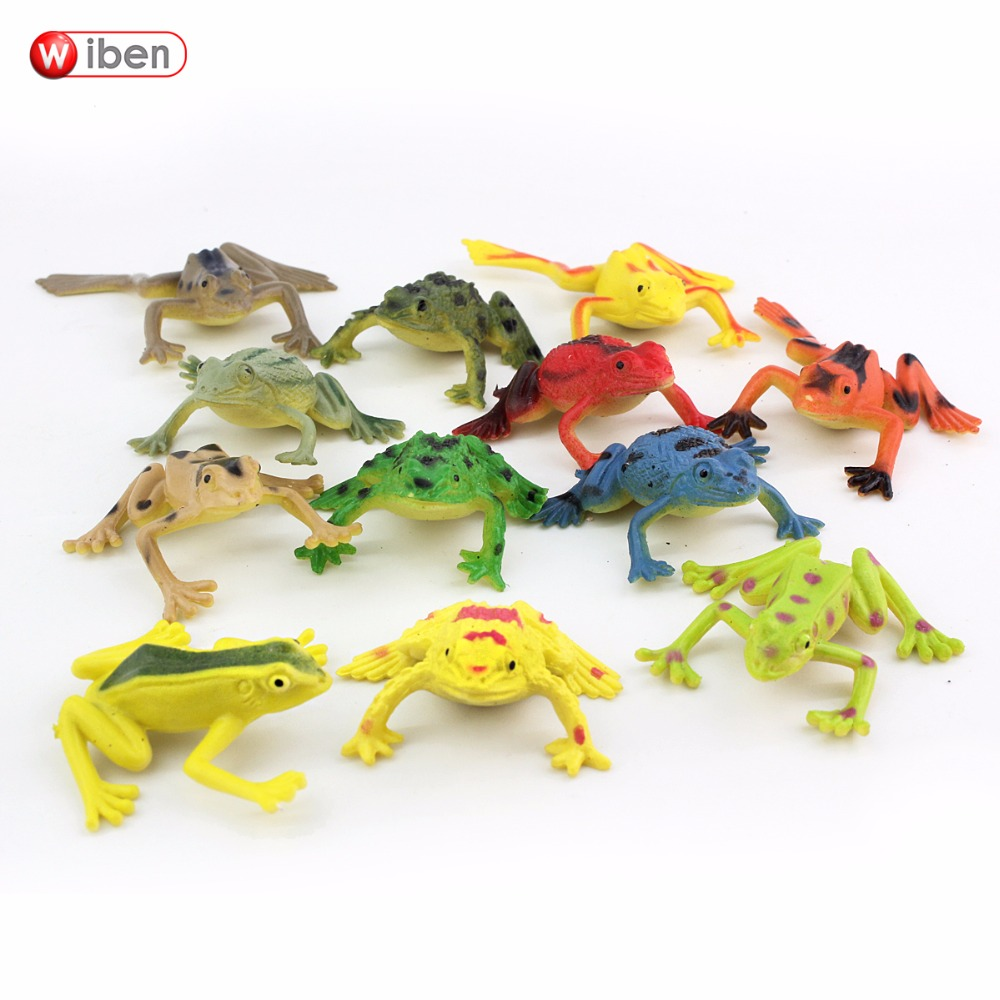 Wiben 12pcs/lot Frogs Model Action & Toy Figures Learning Education toys for Children Gift 48pcs lot action figures toy stikeez sucker kids silicon toys minifigures capsule children gift