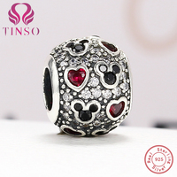 Authentic 100 925 Sterling Silver Mickey Mouse Love Bead Fit Original Pandora Charm Bracelet 925 Silver