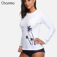 Charmo Frauen Langarm Rashguard Hemd Badeanzug Shirts UPF50 + kokospalme Bademode UV-Schutz Rash Guard Top Surfen hemd