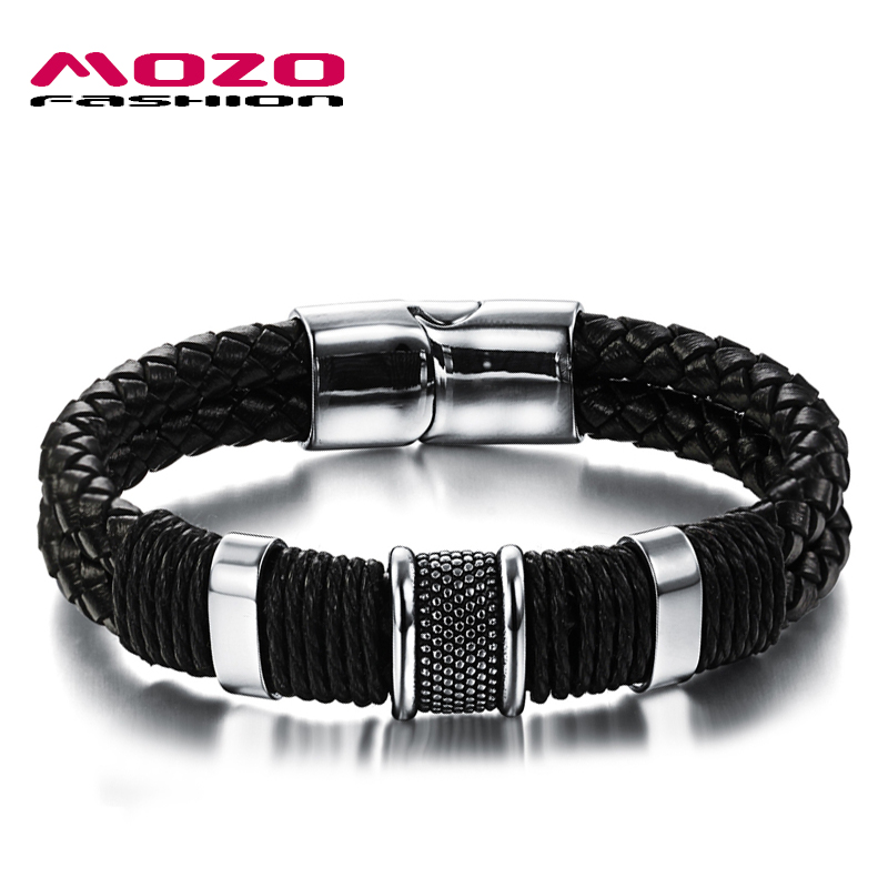 MOZO FASHION Men Charm Bracelet Black Leather Bracelet Stainless Steel Magnetic Clasps Bracelets Male Vintage Jewelry MPH891