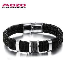 MOZO FASHION Men Charm Bracelet Black Leather Bracelet Stainless Steel Magnetic Clasps Bracelets Male Vintage Jewelry MPH891