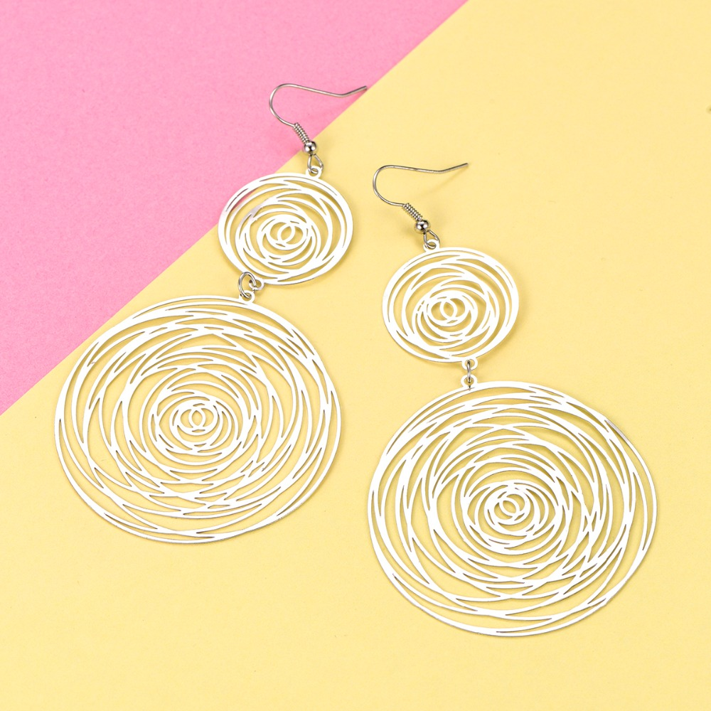 Vintage Round Long Women's Earrings Charm Bohemia Big And Small Circular Maze Drop Earrings Gift For Best Friend/Wife/Girlfriend