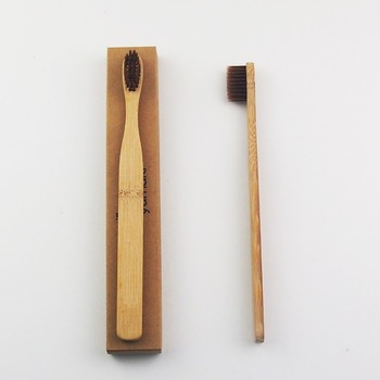 50 Pieces Brown Extra Wide Bamboo Toothbrush Wood toothbrush Novelty Bamboo soft-bristle Capitellum Bamboo Fibre Wooden Handle фото