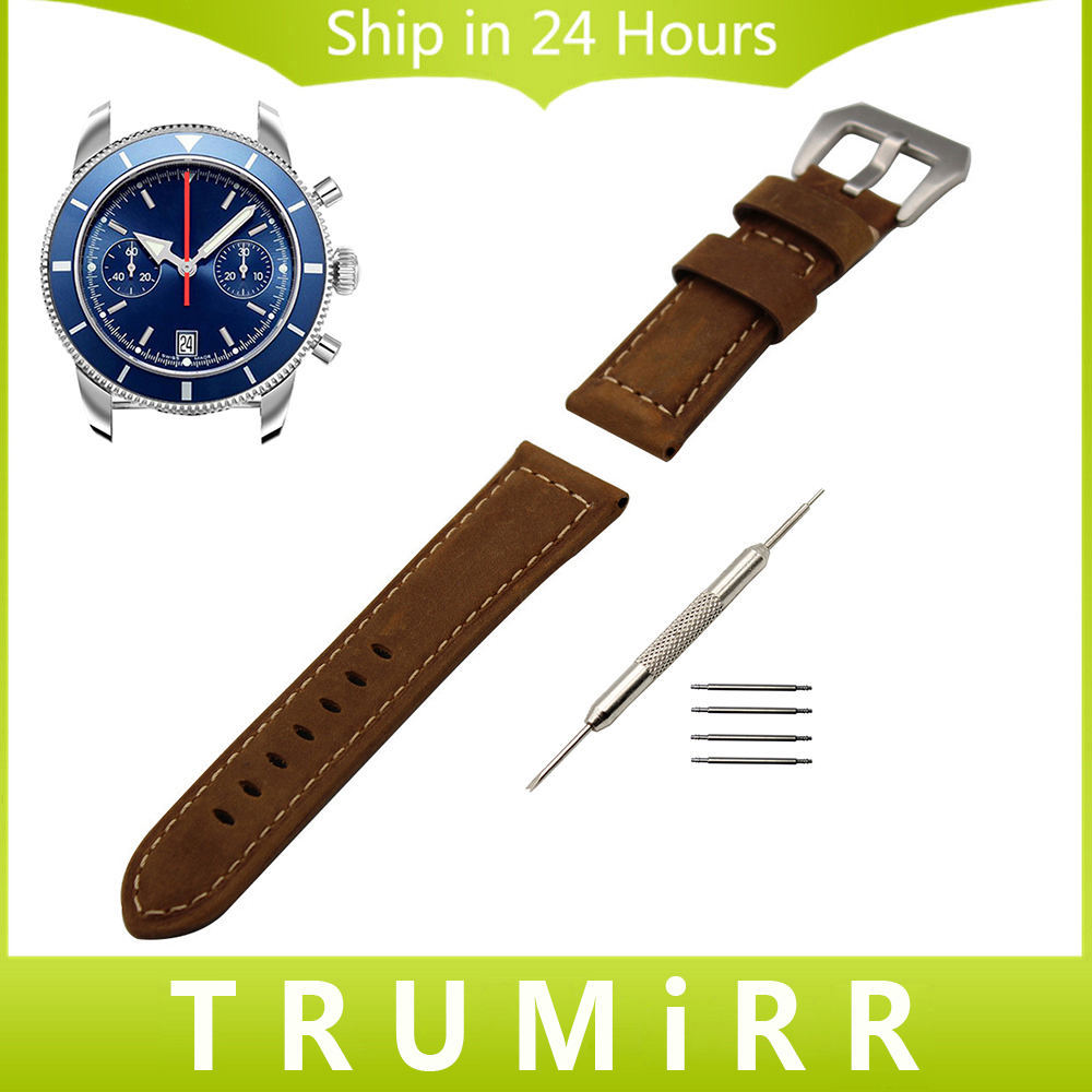 Italy Calf Genuine Leather Watch Band 22mm 24mm for Breitling Wrist Strap Stainless Steel Tang Buckle Belt Bracelet Black Brown new 24mm italy black genuine leather watch band strap silver brushed stainless steel buckle clasp for brand free shipping