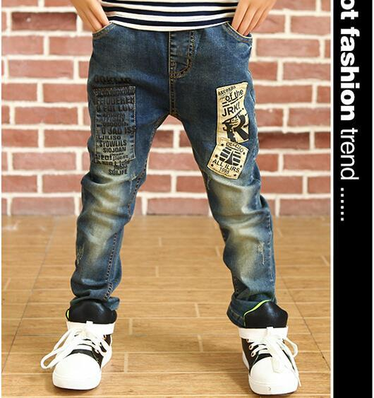2015 New Style Children Jeans Boys Pants Letter Print Korean version Jeans For Boys Casual Jeans Autumn Kids Trousers