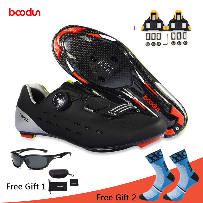 Boodun Cycling Shoes Carbon Fiber Breathable Road Bike Self Locking Bicycle Shoes Zapatillas Ciclismo Athletic Racing Sneakers
