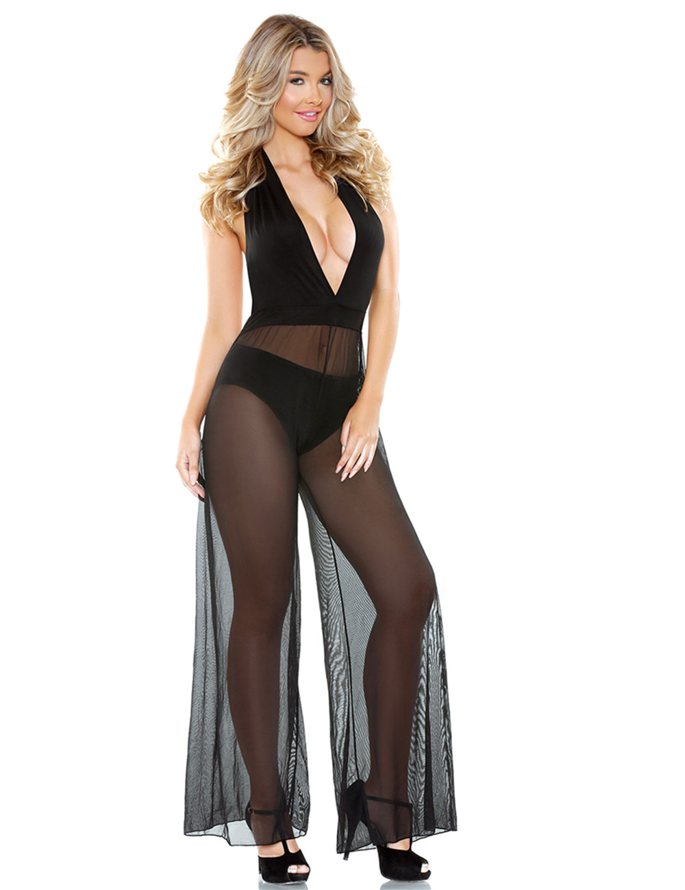 Hot Sale Romp Halter Tie W-sheer Wide Leg Pant Black L55185