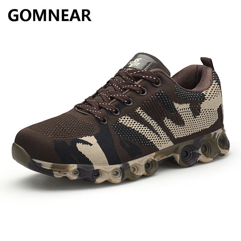 GOMNEAR New Autumn Hiking Shoes For Man Outdoor Sneakers Male Trekking Walking Sports Shoe Men Breathable