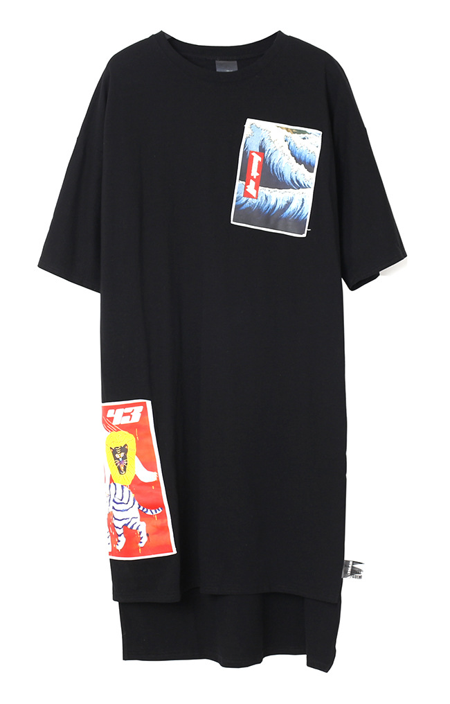 2017 Spring Summer Fashion Patch Long Style T-Shirts Dress Women Novelty Street Wear Tees Cotton Casual Dress Black White Dress