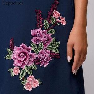 Image 5 - 2019 秋の女性のファッションアップリケドレス女性oネック 3 分袖カジュアルルースドレス女性ミニパーティードレス