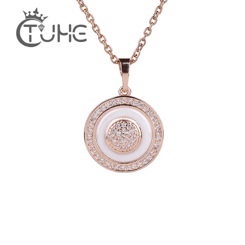Vintage 585 Rose Gold Circle Pendant Necklaces For Women Fashion Australia Necklace Made Healthy Ceramic Statement Jewelry Gift