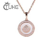 Vintage 585 Rose Gold Circle Pendant Necklaces For Women Fashion Australia Necklace Made Healthy Ceramic Statement Jewelry Gift(China)